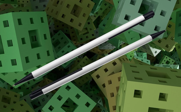 Bolígrafos 3d en blanco y negro sobre fondo de cubos