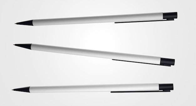 Bolígrafos horizontales 3d blanco y negro