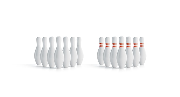 Bolos de bolos blancos en blanco conjunto simulacro, vista frontal