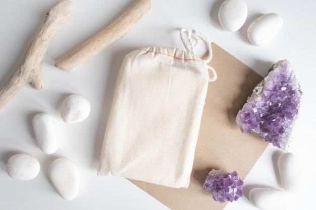 Bolsa de algodón cubierta de tarot con artesanía de papel