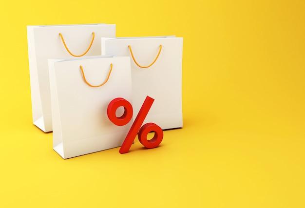 Bolsa de compras 3d e icono de descuento rojo.