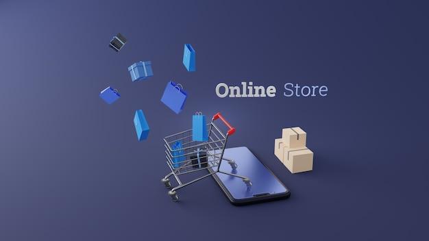 Bolsa de compras azul 3d y caja de regalo en carrito de compras en la pantalla del móvil