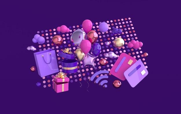 Bolsa de compras, caja presente, tarjeta de crédito, globos, símbolo, wifi, nubes, render