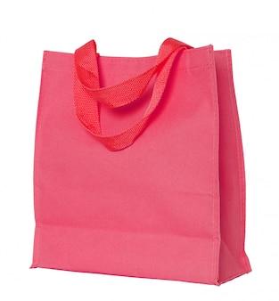Bolsa de algodón rojo aislado en blanco con trazado de recorte