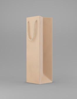Bolsa de papel con asa sobre un fondo gris