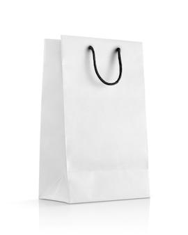 Bolsa de papel blanco en blanco para maqueta de diseño