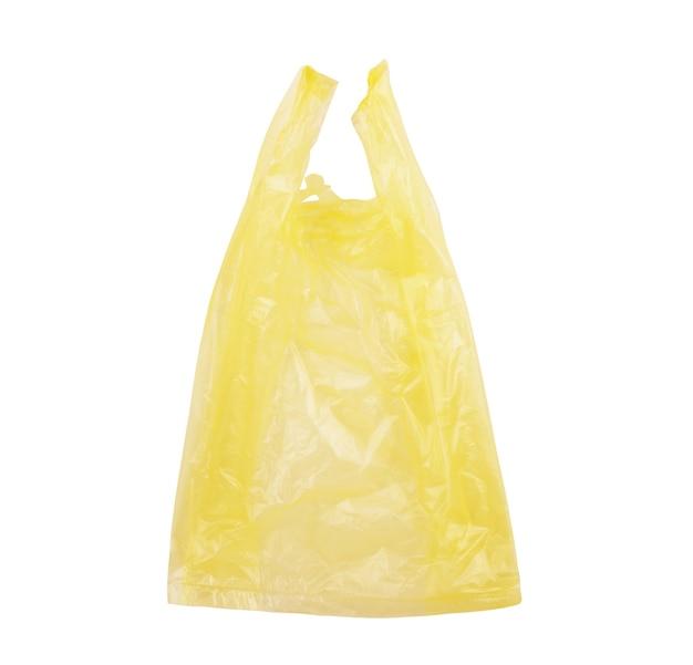 Bolsa de plástico desechable sobre un fondo blanco.