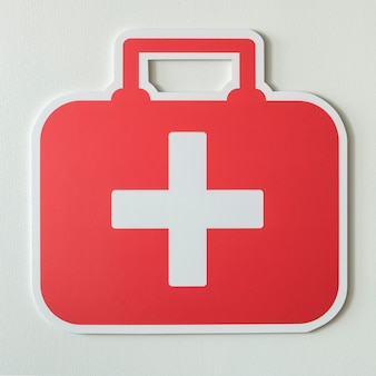 Bolsa de primeros auxilios icono de papel artesanal