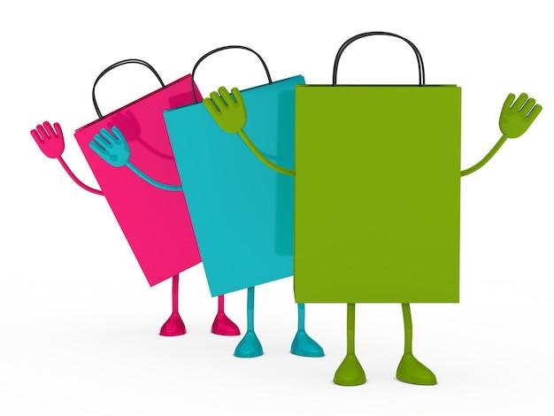 Bolsas de colores con las manos elevadas