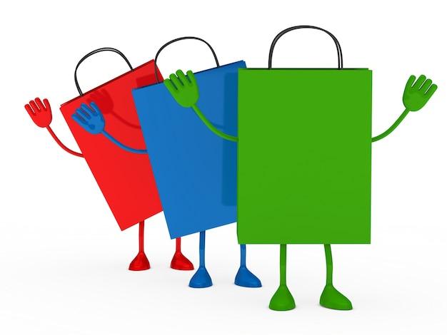Bolsas de la compra sonrientes con los brazos arriba