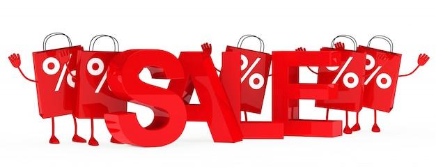 Bolsas de la compra sonrientes con porcentajes