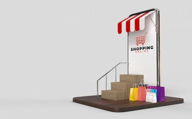 Bolsas de compras, carrito de compras y el teléfono una tienda en línea tienda mercado digital de internet