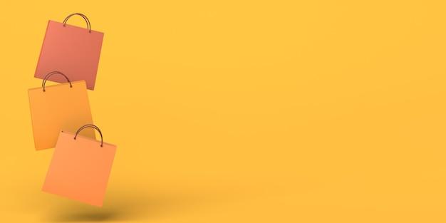 Bolsas de compras flotando sobre fondo amarillo ilustración 3d espacio de copia compras de otoño estacionales