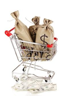 Bolsas con dinero en carro aislado en blanco