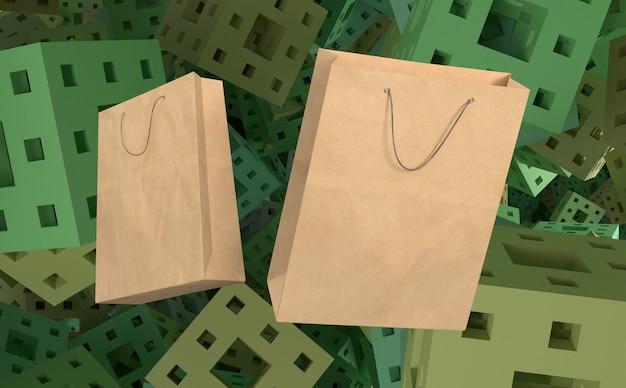Bolsas de papel 3d para compras y fondo con cubos.