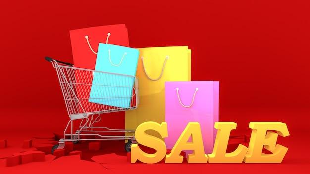 Bolsas de papel de colores en el carro de la compra con el cartel de venta amarillo sobre fondo rojo crack. concepto de compras, render 3d.