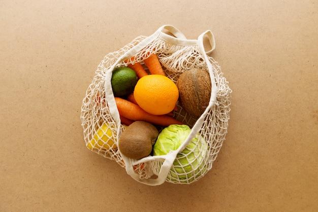 Bolso de compras de punto de malla reutilizable amigable de eco con frutas y verduras