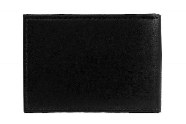 Bolso monedero negro, fondo blanco maqueta aislado