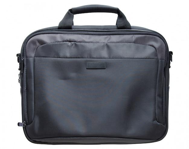 Bolso negro de la computadora portátil aislado en el fondo blanco con trazado de recorte
