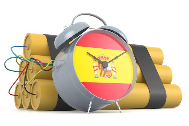 Bomba de relojería con bandera española. representación 3d