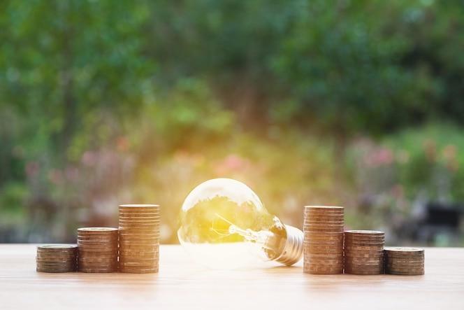 Bombilla de ahorro de energía con pilas de monedas en el fondo de la naturaleza.
