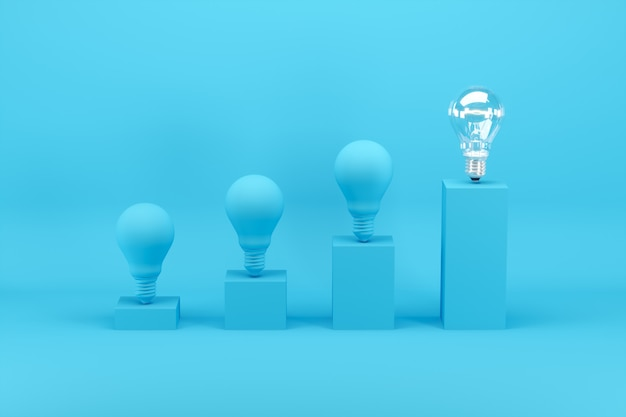 Bombilla excepcional entre bombillas pintadas en azul en gráfico de barras en azul