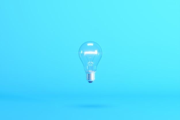 Bombilla flotante aislada en azul