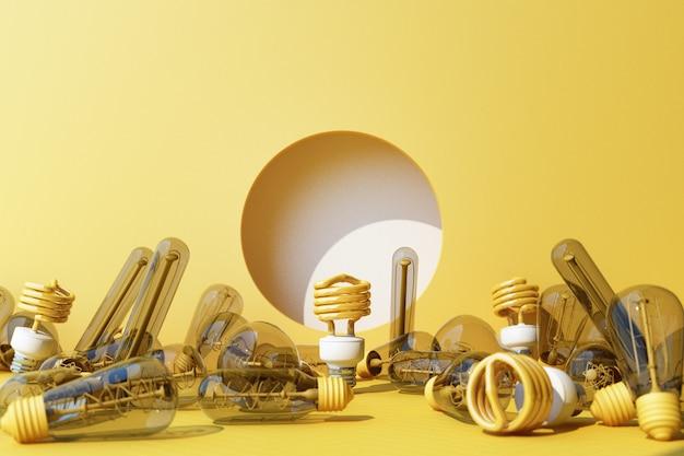 Bombilla fluorescente de luz amarilla led sobre fondo de pared amarilla rodeada de lámpara incandescente - representación 3d