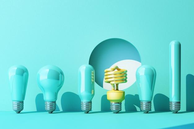 Bombilla fluorescente de luz amarilla led sobre fondo de pared azul rodeado por una lámpara incandescente azul - representación 3d