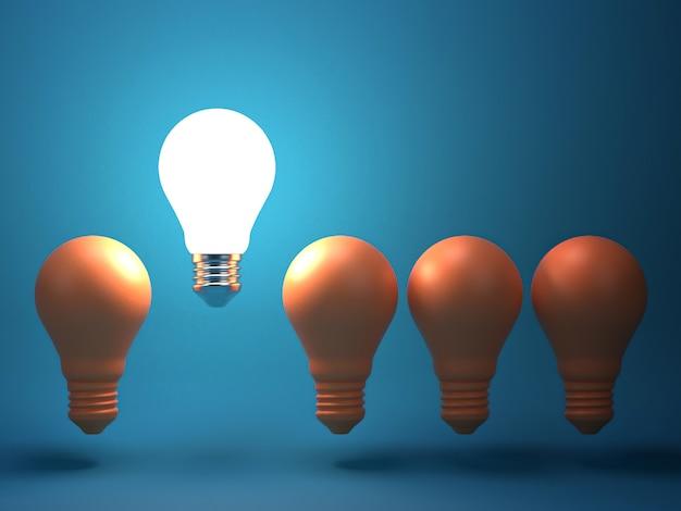 Una bombilla incandescente que se destaca de las bombillas incandescentes apagadas. individualidad y diferente idea creativa.