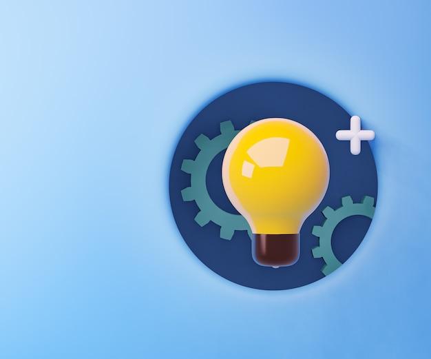 Bombilla de luz amarilla 3d con engranaje en el marco del círculo azul. representación de la ilustración 3d.