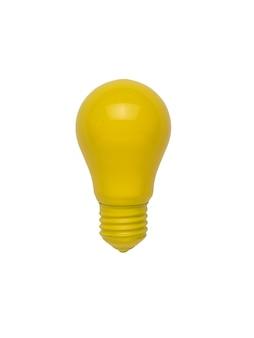 Una bombilla de luz amarilla brillante aislada en un fondo blanco. minimalismo. el concepto de energía y negocio. endecha plana.
