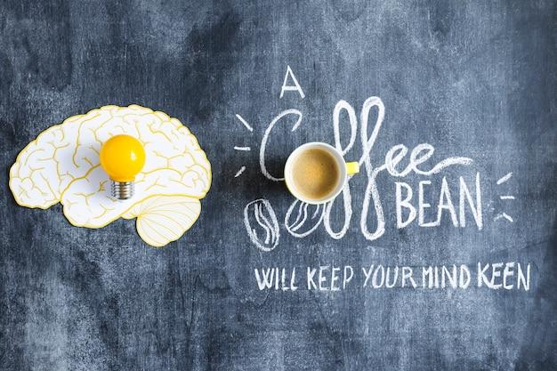 Bombilla de luz amarilla en el recorte de papel cerebral y taza de café con texto en la pizarra