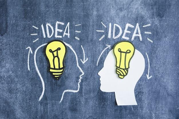 Bombilla de luz amarilla sobre el cerebro con texto de idea en la pizarra