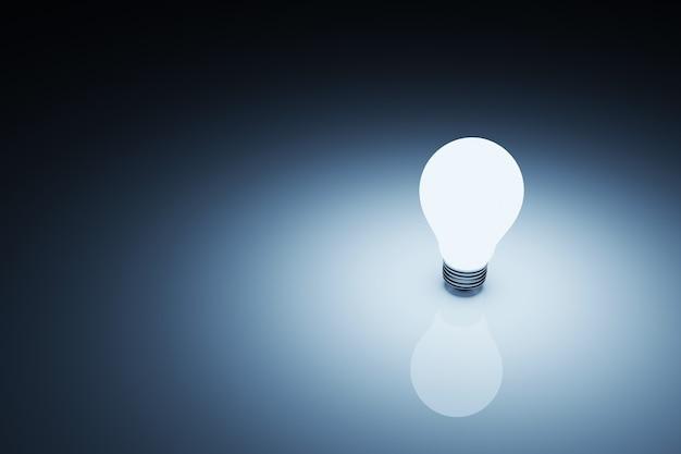 Bombilla de luz brillante sobre fondo blanco oscuro. concepto de idea creativa e innovación. ilustración 3d