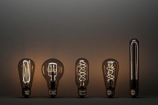 Bombilla de luz incandescente aislada sobre fondo de hormigón negro - representación 3d