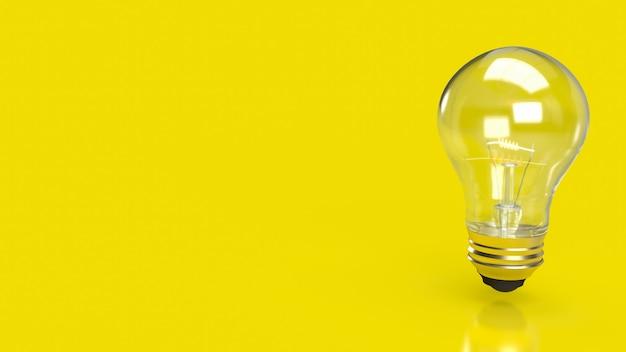 La bombilla de luz sobre fondo amarillo para la educación o el concepto creativo representación 3d
