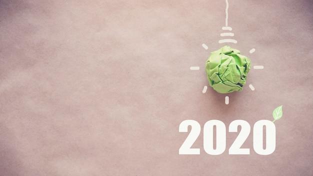Bombilla de papel verde 2020