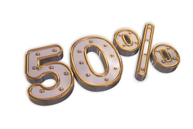 Bombillas 50% de descuento, promoción de oro por ciento de venta hecha de 3d realista