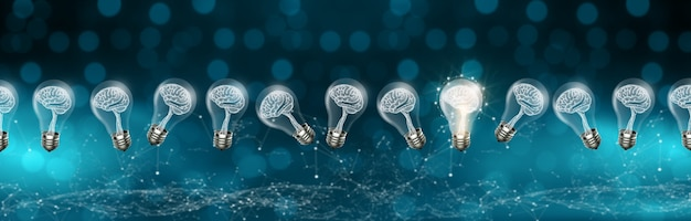 Bombillas con cerebro dentro y brillando una idea diferente sobre fondo azul con bokeh. inspiración creativa e innovadora. concepto de idea brillante de negocios. representación 3d.