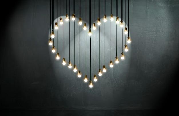 Bombillas de corazón, estilo loft, san valentín y concepto de amor.
