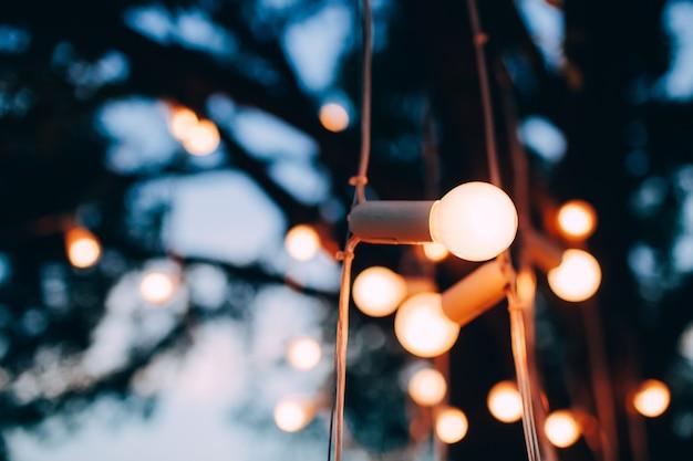 Bombillas eléctricas de luz amarilla en la calle por la noche.