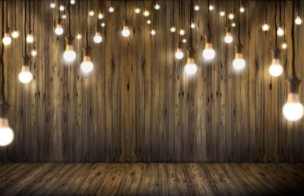 Bombillas de luz sobre fondo de madera.