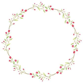 Bonita corona de flores y hojas de acuarela