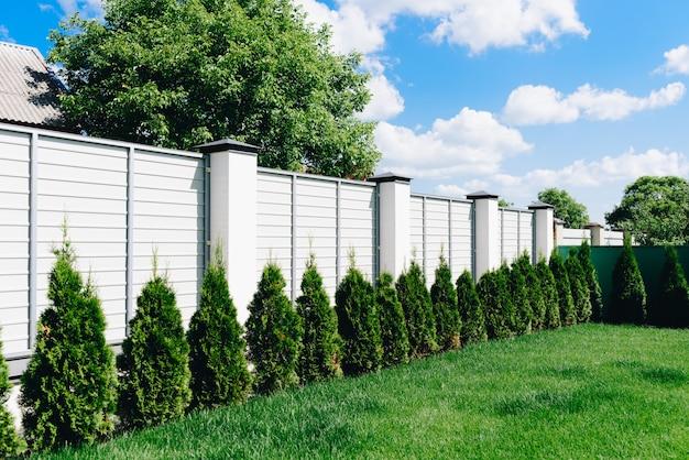 Un bonito patio verde con césped cerca blanca y seto verde en un día soleado