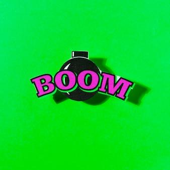 Boom texto en bomba sobre el fondo verde