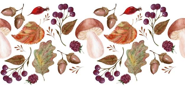Borde de acuarela con elementos temáticos de otoño