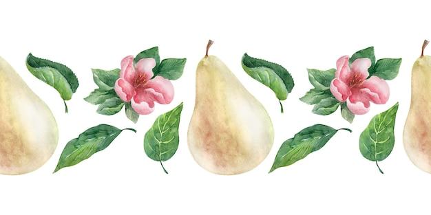 Borde de acuarela pera. frutas, hojas y flores