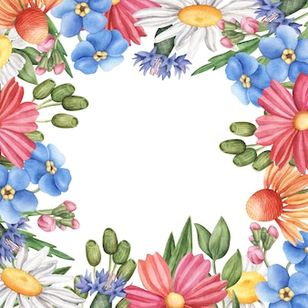 Borde cuadrado, marco de flores silvestres de verano con espacio vacío en el interior