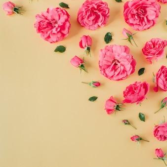 Borde de flores color de rosa rosa sobre superficie amarilla